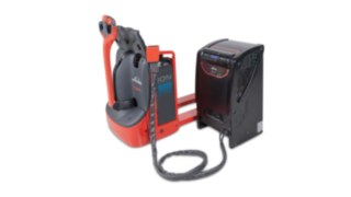 Linde pallet truck with Li-ION battery connected to the charger